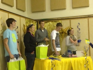 Saegertown cross country seniors: from left Tucker Geer, Jessica Tomiczek, Brendon Barclay, Chris Guy and Rachel Smith presented gifts to the underclassmen at the banquet on Nov. 11.