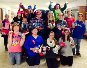 Eighth grade students collected items for Women's Services as part of #socktober.