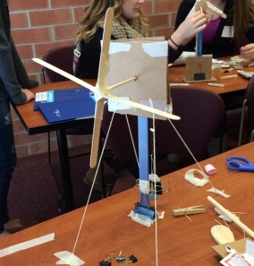 Sophomore Sydney Kightlinger created a windmill at Penn State Behrend's Women in Engineering Day on Nov. 21..
