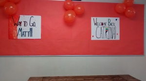 Hallways were decorated to celebrate Catrina and Matt's return.