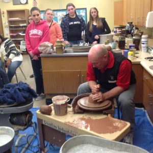Fred Corle visits the art classes. (Photo contributed)