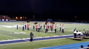 The band performed September 16 at McDowell High School, winning the Lakeshore Marching Band Association (LMBA) competition with a score of 70.3. (Photo by Danelle Henry)