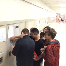 Students placed the message of hope on seventh grade lockers during morning advisory period.