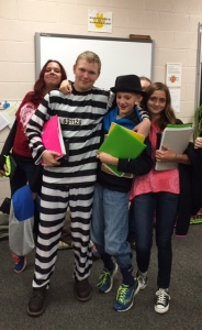 Junior high students show their Halloween spirit by dressing up in costumes.