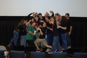 """Cast members of """"Planet of the Dead"""" take a pose before the showing of the movie."""