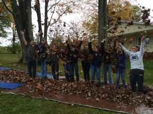 Members of Key Club at Saegertown raked leaves at Janet Haas's house in remembrance of Dwight Haas, a former member of the Meadville Golden K Kiwanis Club