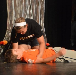 Carson Jones rehearses his performance for Into the Woods.