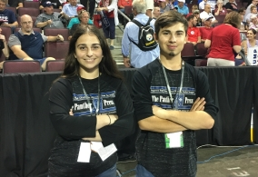 Taylor Munce and Dustin Steiger attended the Trump rally on October 10 as registered journalists.