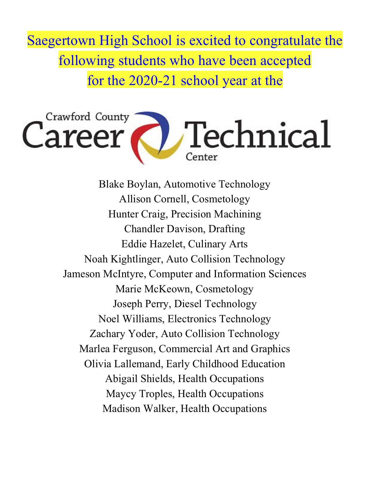 CCCTC Accepted for 2020-21